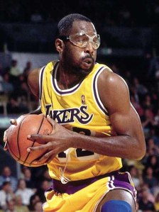 James Worthy grabs a rebound