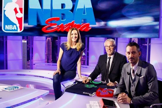 Mary Patrux, présentatrice de NBA Extra au côté de Jacques Monclar et Xavier Vaution (c) Panoramic