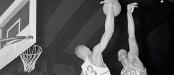 Bill Russell and Wilt Chamberlain battling at Basketball Net