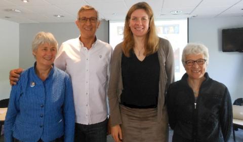 Les Membres du Bureau - Club des Internationaux De gauche à droite: Jacky Chazalon (vice présidente), Alain Vincent (trésorier), Isabelle Fijalkowski (présidente), Annick Hector Travart (secrétaire générale)