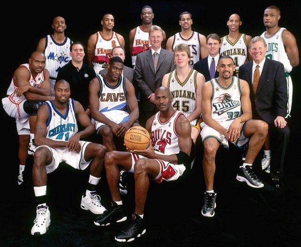 L'équipe de la Conférence Est au All Star Game 1998 (c) nba.com