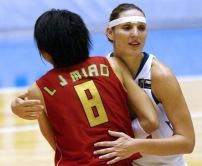 Audrey Sauret lors du match de la Coupe du monde de basket avec la France contre la Chine, le 18 septembre 2006 à Barueri au Brésil (c) AFP