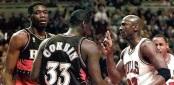 Michael Jordan (R) of the Chicago Bulls gets a tec