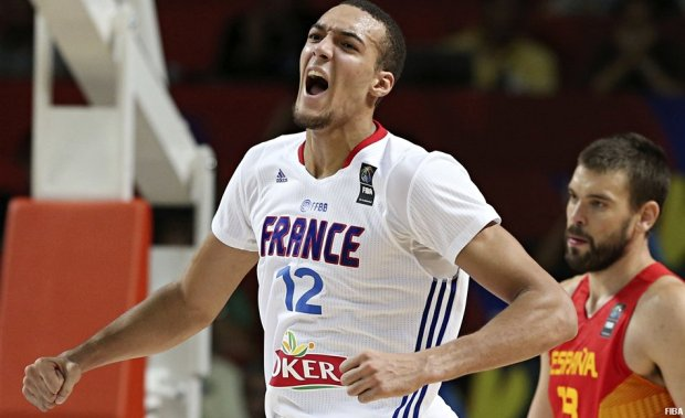 Rudy Gobert lors de France-Espagne au Mondial 2014 (c) FIBA