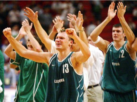 La joie de Jasikevicius et de la Lituanie après la demi-finale (c) Fiba Europe