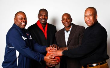 Michael Young - Hakeem Olajuwon - Clyde Drexler, et Larry Micheaux, mem4bres du Phi Slamma Jamma (c) Michael Paulsen, Houston Chronicle