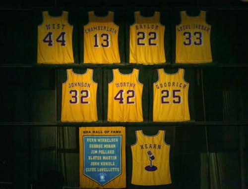 Magic Johnson, son maillot des Lakers retiré (c) Getty
