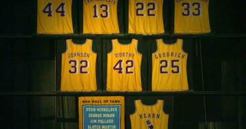 Magic Johnson, son maillot des Lakers retiré (c) Getty