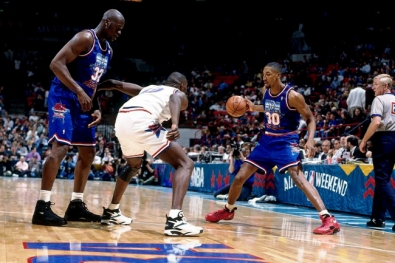 Scottie Pippen ballon en main lors du All-Star Game 1994 (c) solecollector.com
