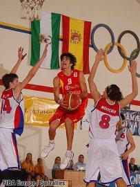 Ricky Rubio sous le panier en finale de l'Eurobasket U16 avec l'Espagne (c) Fiba