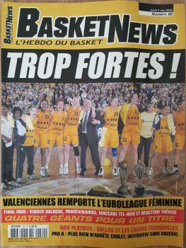 La couverture de Basket News N°80 - Mai 2002 consacré au titre de l'USVO en Euroligue