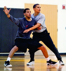 Là on ne rigole pas, on joue. © Pete Souza / White House.