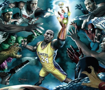 Rajon, LeBron, Kobe et Dwight dans l'Olympe des Super Heros © Marvel-ESPN