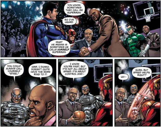 Woaaééé... Kenny Smith, il s'fait piquer la balle par Flash. Trop drôle ! © TNT-DC.Comics