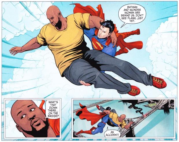 Voler en portant gros Shaq dans ses bras, si ça c'est pas du super pouvoir ! © TNT-DC.Comics