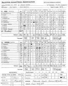 La feuille de match Boston-Houston marqué par le premier tir à 3-points en NBA signé Chris Ford