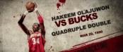 Hakeem Olajuwon quadruple double vs bucks (c) capture écran You Tube