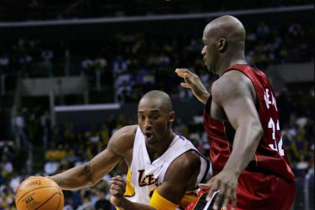 Shaq vs Kobe lors de Heat-Lakers à Noel 2004 (c) Getty