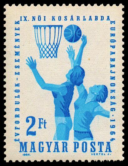 Timbre de la poste hongroise commémorant l'Eurobasket féminin 1964