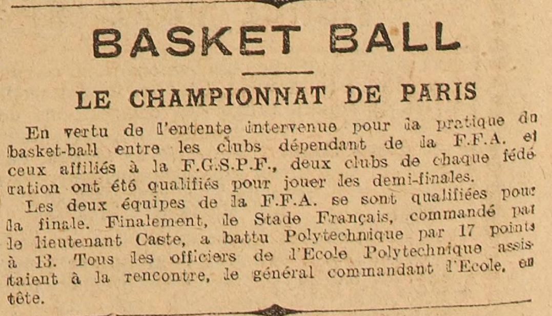 1921-05-13 - L'Auto - #7454 - Basket-ball